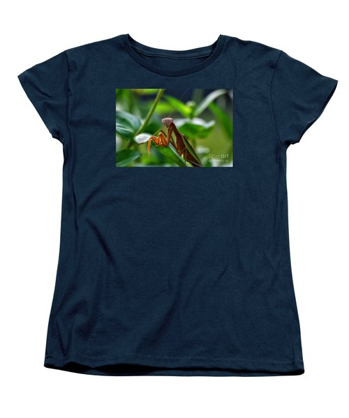 Women's T-Shirt (Standard Cut) featuring the photograph Praying Mantis by Thomas Woolworth