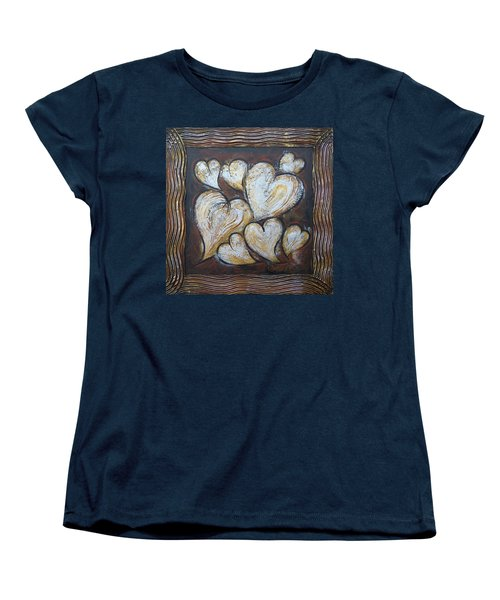 Women's T-Shirt (Standard Cut) featuring the painting Precious Hearts 301110 by Selena Boron