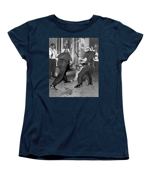 Protester Clubbed In Harlem Women's T-Shirt (Standard Cut) by Underwood Archives