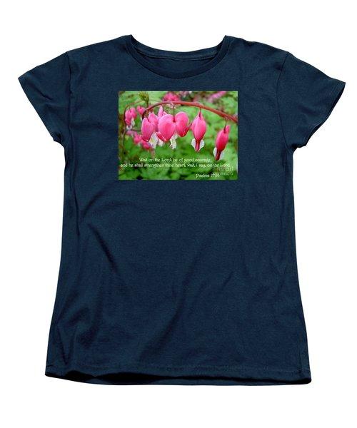 Psalms 27 14 Bleeding Hearts Women's T-Shirt (Standard Cut) by Sara  Raber