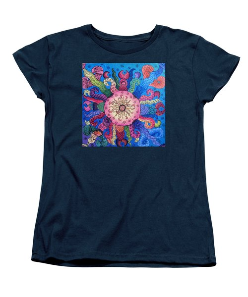 Women's T-Shirt (Standard Cut) featuring the painting Psychedelic Squid 2 by Megan Walsh