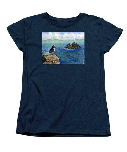 Puffin At Skellig Island Ireland Women's T-Shirt (Standard Cut) by John D Benson