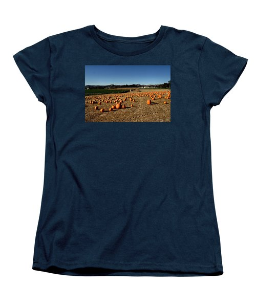 Women's T-Shirt (Standard Cut) featuring the photograph Pumpkin Field by Michael Gordon