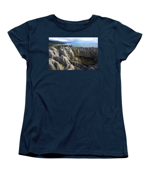 Women's T-Shirt (Standard Cut) featuring the photograph Punakaiki Pancake Rocks #2 by Stuart Litoff