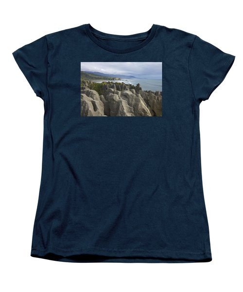 Women's T-Shirt (Standard Cut) featuring the photograph Punakaiki Pancake Rocks by Stuart Litoff