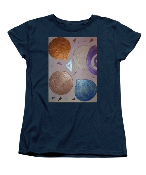 Purple And Metallic Shapes Women's T-Shirt (Standard Cut) by Barbara Yearty