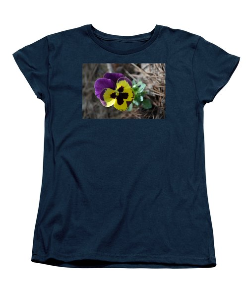 Women's T-Shirt (Standard Cut) featuring the photograph Purple And Yellow Pansy by Tara Potts