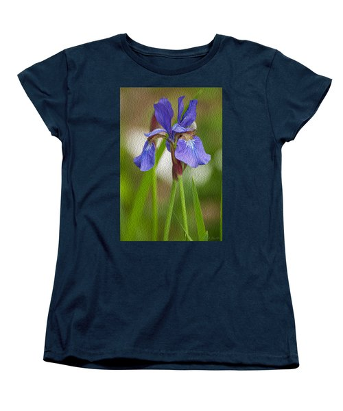 Purple Bearded Iris Oil Women's T-Shirt (Standard Cut) by Brenda Jacobs