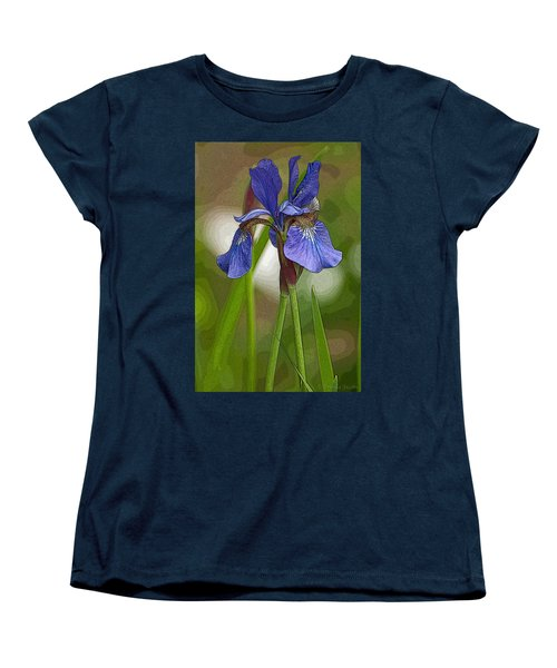 Purple Bearded Iris Watercolor With Pen Women's T-Shirt (Standard Cut) by Brenda Jacobs
