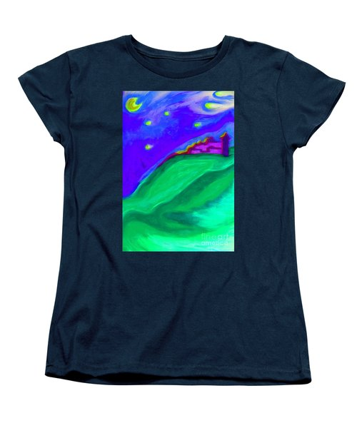 Women's T-Shirt (Standard Cut) featuring the painting Purple Castle By Jrr by First Star Art