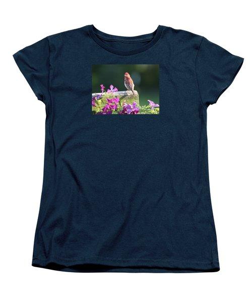 Purple Finch By Clematis Women's T-Shirt (Standard Cut) by Lucinda VanVleck