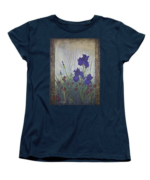Women's T-Shirt (Standard Cut) featuring the painting Purple Iris by Rob Corsetti