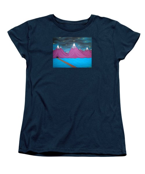 Women's T-Shirt (Standard Cut) featuring the pastel Purple Mountains by Robert Nickologianis