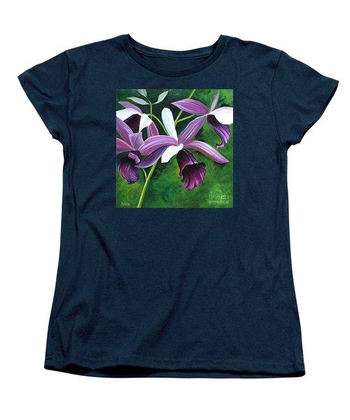 Purple Orchid Women's T-Shirt (Standard Cut) by Debbie Hart
