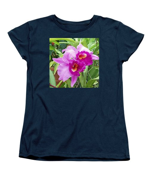 Purple Cattleya Orchids Women's T-Shirt (Standard Cut) by Ellen Henneke