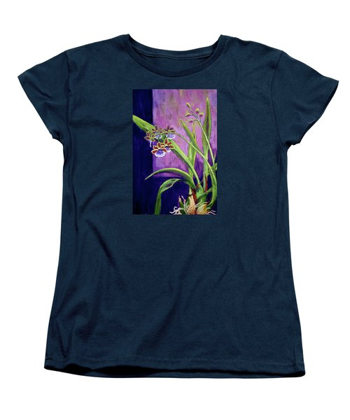 Women's T-Shirt (Standard Cut) featuring the painting Purple Orchids by Nancy Jolley