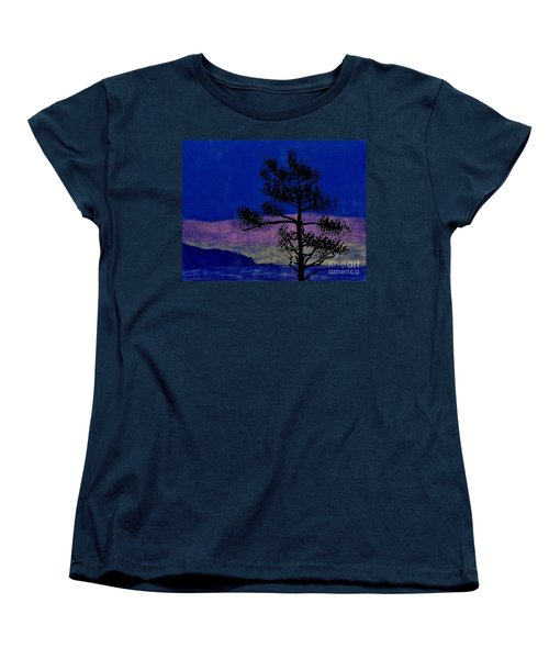 Women's T-Shirt (Standard Cut) featuring the drawing Purple Sunset Bay by D Hackett