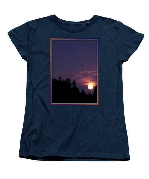 Women's T-Shirt (Standard Cut) featuring the photograph Purple Sunset With Sea Gull by Peter v Quenter