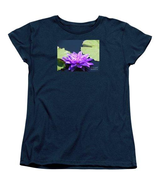 Women's T-Shirt (Standard Cut) featuring the photograph Purple Waterlilie Flower by Chrisann Ellis