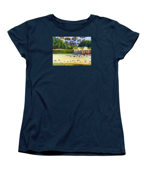 Women's T-Shirt (Standard Cut) featuring the painting Quiet Sand By The Creek by Pamela  Meredith