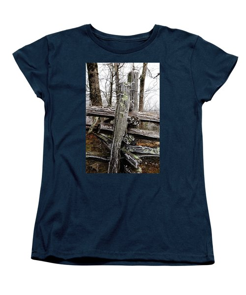 Rail Fence With Ice Women's T-Shirt (Standard Cut) by Daniel Reed