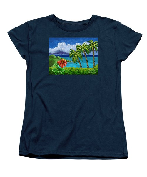 Women's T-Shirt (Standard Cut) featuring the painting Rain In The Islands by Tim Gilliland