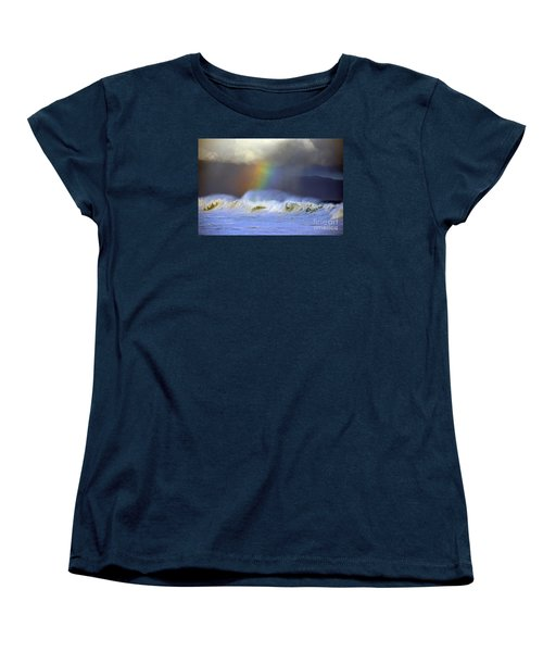 Rainbow On The Banzai Pipeline At The North Shore Of Oahu Women's T-Shirt (Standard Cut) by Aloha Art