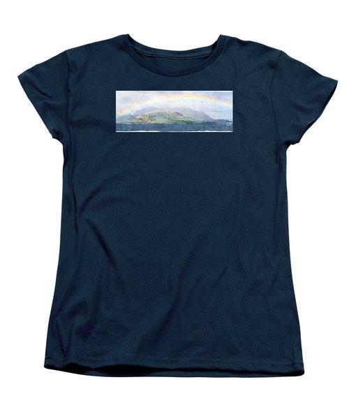 Rainbow Over The Isle Of Arran Women's T-Shirt (Standard Cut) by Liz Leyden