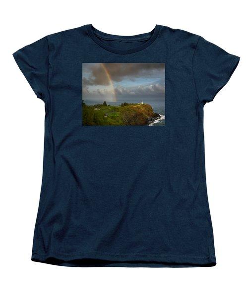 Rainbow Over Kilauea Lighthouse On Kauai Women's T-Shirt (Standard Cut)