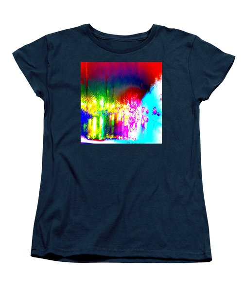 Rainbow Splash Abstract Women's T-Shirt (Standard Cut) by Marianne Dow