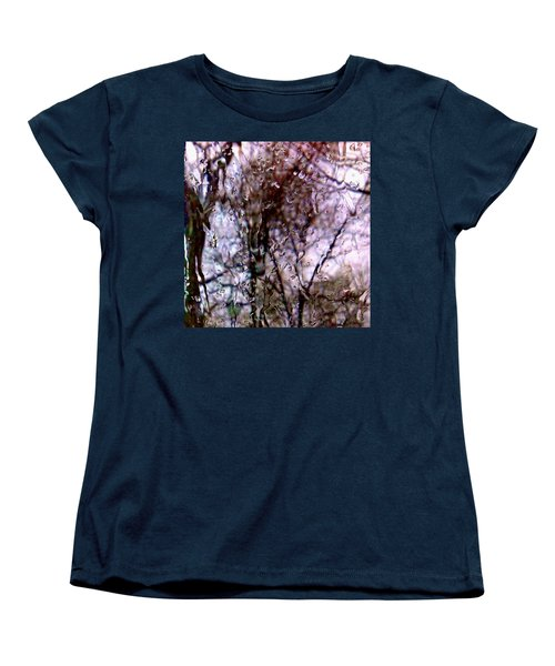 Women's T-Shirt (Standard Cut) featuring the photograph Rainscape - Rain On The Window Series 1 Abstract Photo by Marianne Dow
