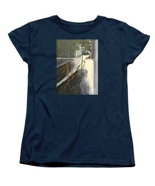 Women's T-Shirt (Standard Cut) featuring the painting Rainy Street In Melbourne by Pamela  Meredith