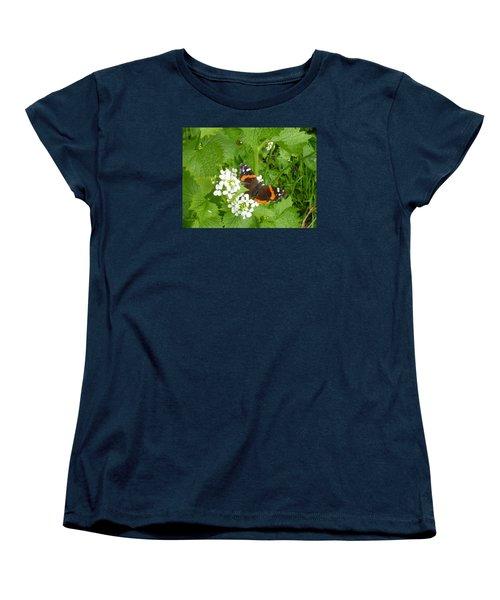 Women's T-Shirt (Standard Cut) featuring the photograph Red Admiral Butterfly by Lingfai Leung