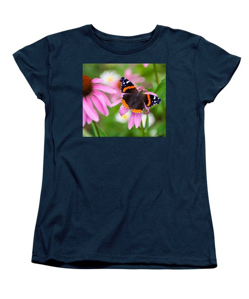 Women's T-Shirt (Standard Cut) featuring the photograph Red Admiral Butterfly by Patti Deters