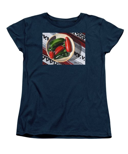Women's T-Shirt (Standard Cut) featuring the painting Red And Green Peppers by Laura Forde