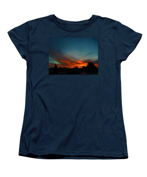 Red And Green Sunset Women's T-Shirt (Standard Cut) by Mark Blauhoefer
