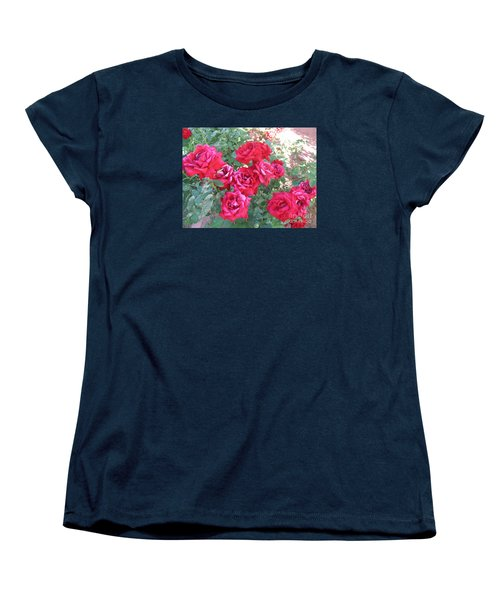 Red And Pink Roses Women's T-Shirt (Standard Cut) by Chrisann Ellis