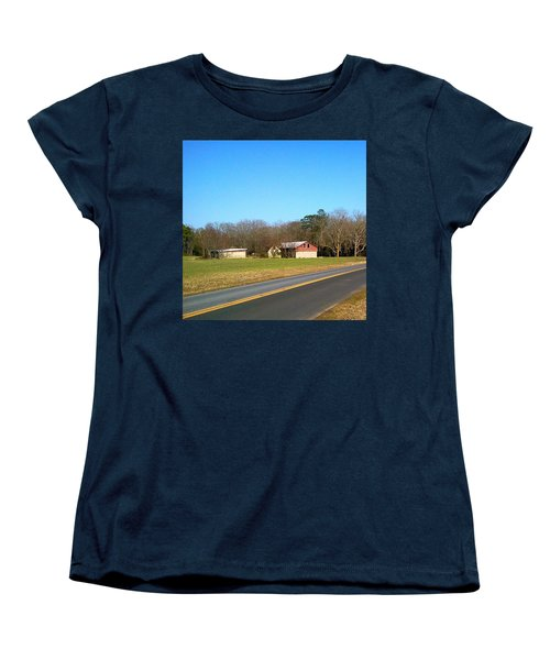 Red And White Barn With Trees Women's T-Shirt (Standard Cut) by Amazing Photographs AKA Christian Wilson