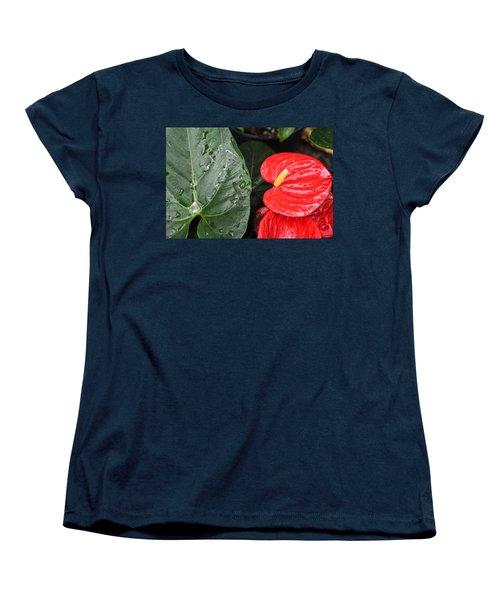 Red Anthurium Flower Women's T-Shirt (Standard Cut) by Denise Bird
