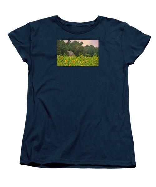 Red Barn Among The Sunflowers Women's T-Shirt (Standard Cut) by Sandi OReilly