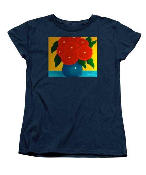 Women's T-Shirt (Standard Cut) featuring the painting Red Bouquet by Anita Lewis
