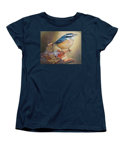 Red-breasted Nuthatch Bird Women's T-Shirt (Standard Cut) by Janet Garcia