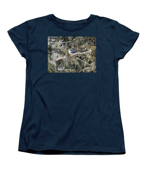 Women's T-Shirt (Standard Cut) featuring the photograph Red Breasted Nuthatch by Brenda Brown