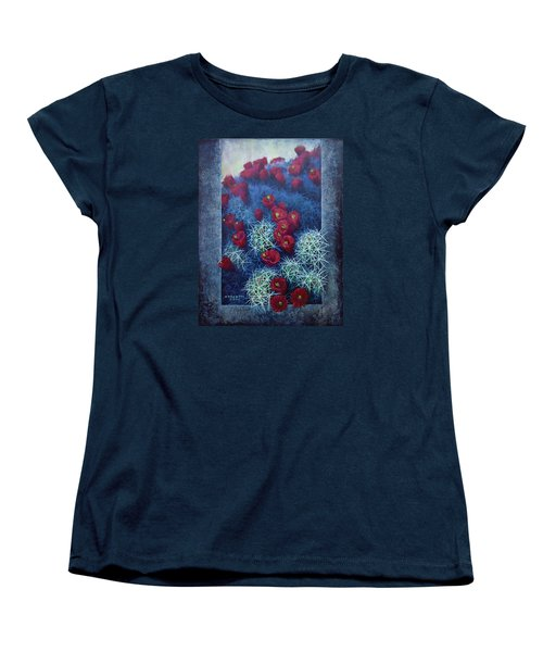 Women's T-Shirt (Standard Cut) featuring the painting Red Cactus by Rob Corsetti