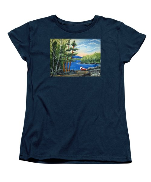 Red Canoe Women's T-Shirt (Standard Cut) by Brenda Brown
