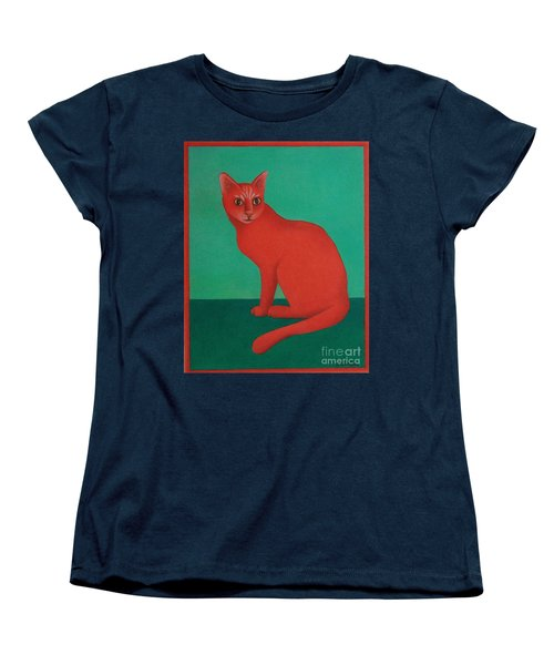 Women's T-Shirt (Standard Cut) featuring the painting Red Cat by Pamela Clements