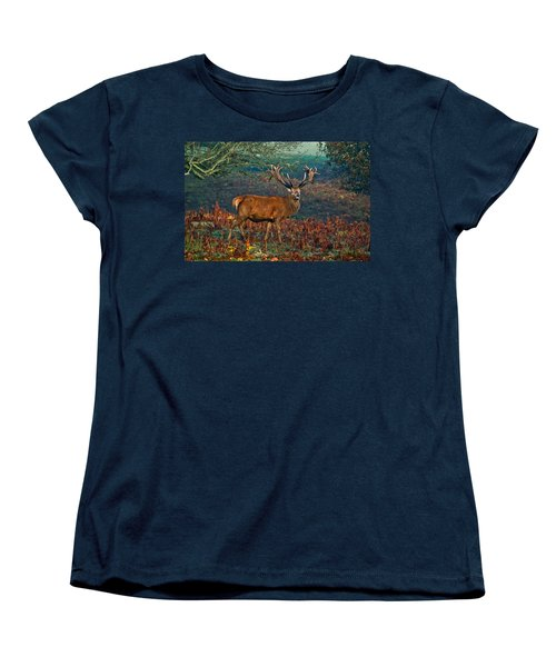 Red Deer Stag In Woodland Women's T-Shirt (Standard Cut) by Scott Carruthers