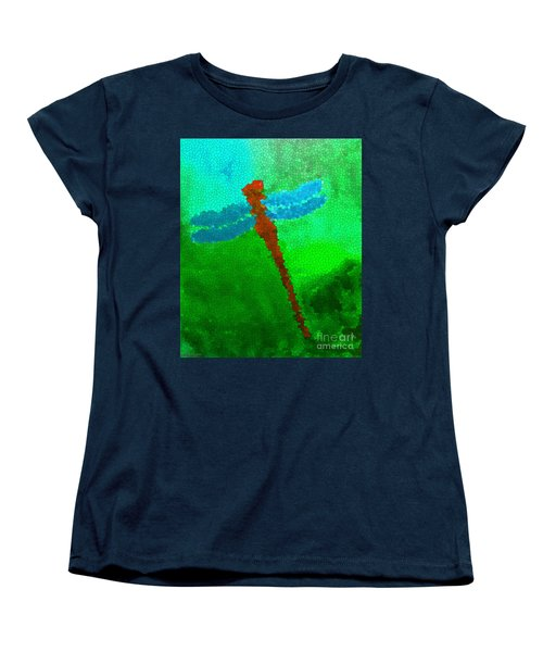 Women's T-Shirt (Standard Cut) featuring the digital art Red Dragonfly by Anita Lewis