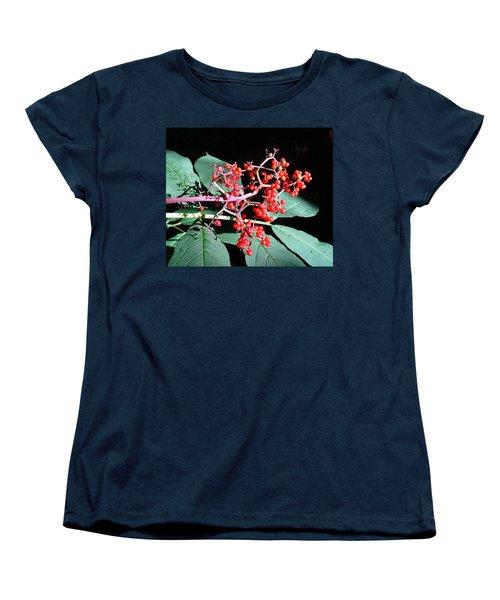 Red Elderberry Women's T-Shirt (Standard Cut) by Cheryl Hoyle