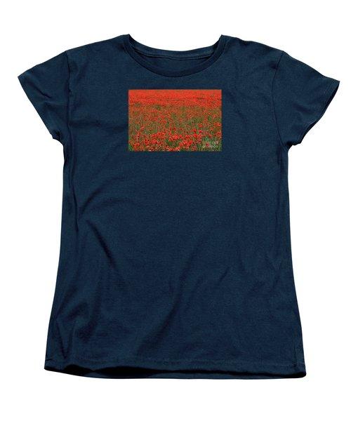 Red Field Women's T-Shirt (Standard Cut) by Simona Ghidini